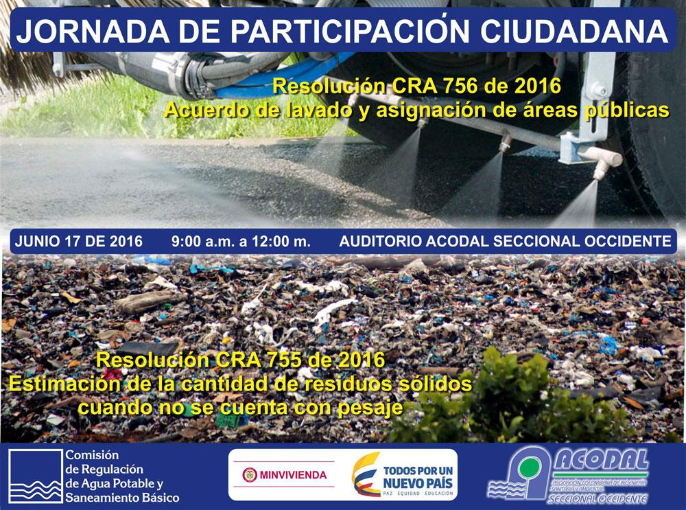 Jornada de participación ciudadana de las resoluciones CRA 755 y 756 de 2016