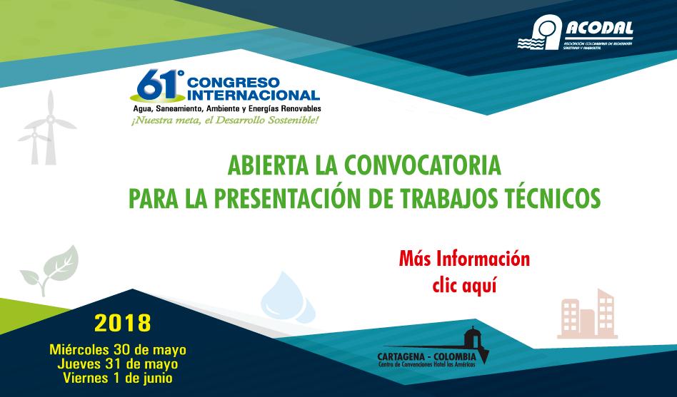 ABIERTA LA CONVOCATORIA PARA LA PRESENTACIÓN DE TRABAJOS TÉCNICOS 30, 31 de mayo y 1 de junio de 2018