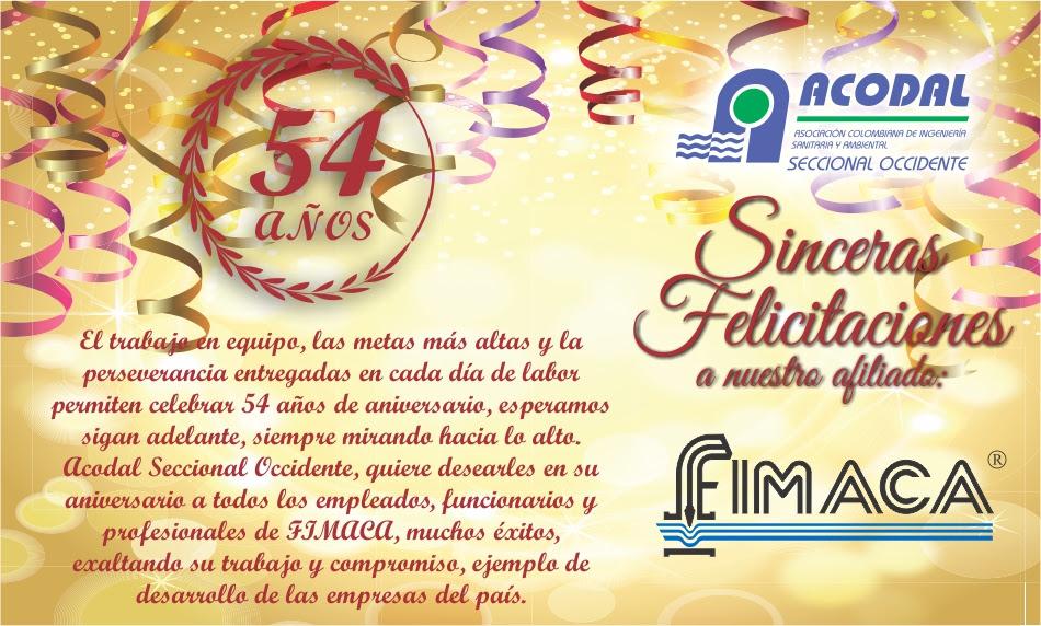 Acodal SECCIONAL OCCIDENTE felicita a su afiliado FIMACA en su 54 aniversario